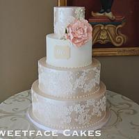 Satin & Lace Wedding Cake
