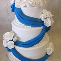 Blue Swaggs and White Roses by Jennifer Watson