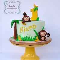 Monkeys 1st Birthday Cake