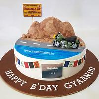 Ladakh and travel theme customized fondant cake for bikers birthday