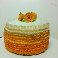 Buttercream Ruffles with Marzipan roses!