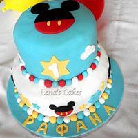 Mickey 2-Tier 1st Birthday Cake