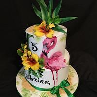 Pink flamingo 💕 Tropic cake