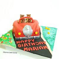 Sylvanian families red car cake
