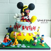 Mickey Mouse clubhouse theme 2 tier birthday cake