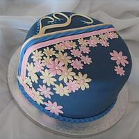 Dark Blue, Pink & Cream Applique Birthday Cake