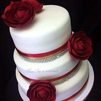 Deep Red Rose Wedding Cake