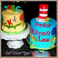 Dr. Seuss Cat in the Hat & ABC's baby shower cakes