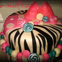 Lil' Diva Zebra Print Birthday Cake