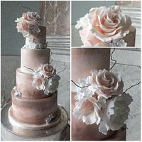 Blush and rose gold wedding cake