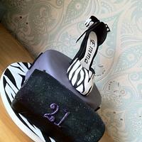 Zebra Print Shoe and fashion cake