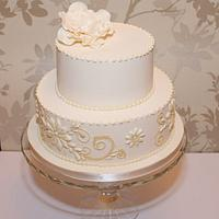 Royal iced wedding cake