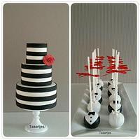 Black White Stripe Cake with Cake Pops