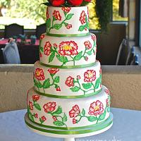 Red Garden Rose Brush Embroidery Wedding Cake
