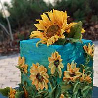 Sunflowers after rain