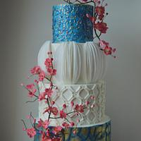 Modern blue and white cake