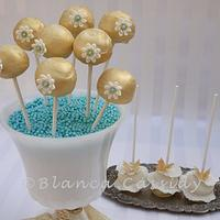 Gold and Blue Fancy Cake Pops by blancs