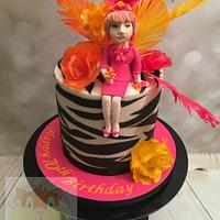 Hot pink and orange cake