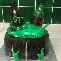 bottles of beer in a barrel