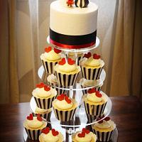 Lovebirds Cake & Cupcake Tower