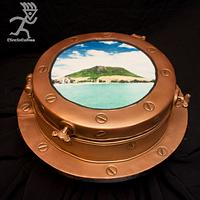 Ship's Porthole looking towards Mt Maunganui