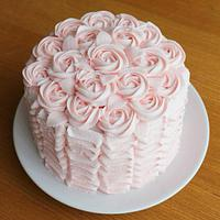 Buttercream Ruffles and Roses Cake for Easter Sunday Lunch