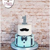 mustache cake for baby boy