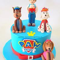 Paw Patrol theme customised fondant cake with 3D Marshal, Chase, Ryder figures