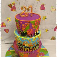 Funky, Fun, Over-The-Top colourful 21st Cake