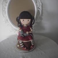 Sculpted cake of Santoro's Gorjuss doll