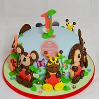 Jungle Animals 1st Birthday Cake