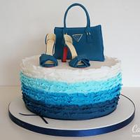 Blue Ruffle Cake with a Bag & Shoes