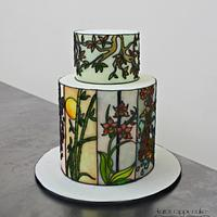 Oriental inspired stained glass cake
