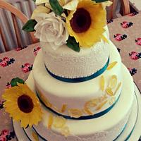 summer flowers lace wedding cake for Claire and Michael