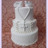 First Communion Cake by Lilla's Cupcakes