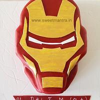 Avengers Iron man face shaped 3D fondant cake for boy's birthday