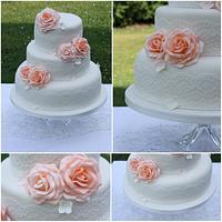 Coral Roses Vintage Wedding Cake