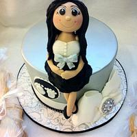 Silver and Bling Baby shower cake
