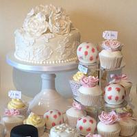 Selection of wedding cakes and cupcakes
