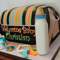 Diaper bag cake.