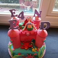 little mermaid under the sea castle cake