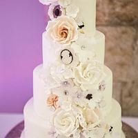 Roses and Cameo cascade wedding cake