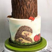 Hedgehog hand painted