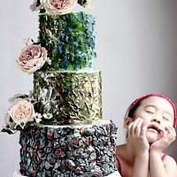 ABSTRACT ART WEDDING CAKE