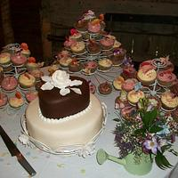 Chocolate, hand made rose and cupcakes