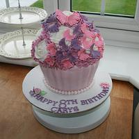 Giant Cupcake with Frilly Butterflys