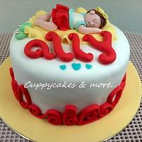 Sleeping baby girl cake