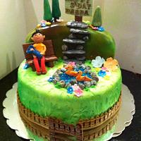 A stroll in the park birthday cake
