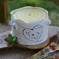 Rustic White Birch Cake
