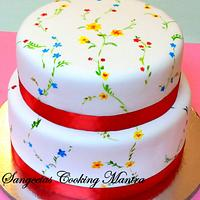 Floral hand painted cake